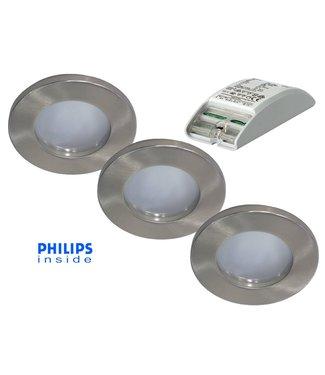 Philips Complete set van 3 stuks badkamer inbouwLEDspot 12V 6,5W arm.+spot (IP65), dimbaar