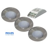 Philips Complete set van 3 stuks badkamer inbouwLEDspot 12V 4W arm.+spot (IP65)