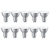 Philips Set van 10 LED spots 4W, GU10, Dimbaar, Warm Wit (vervangt 50W)