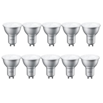 Philips Set van 10 LED spots 4W, GU10, Dimbaar, Warm Wit (vervangt 50W)