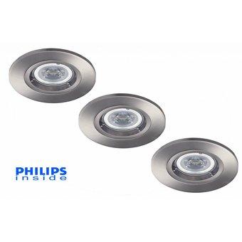 Philips Set van 3 stuks LED inbouwspot 4,4W (35W), dimbaar