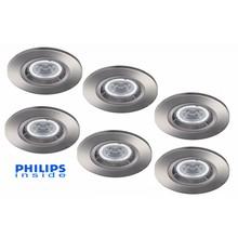 Philips Set van 6 stuks LED inbouwspot 4,4W (35W), dimbaar
