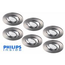 Philips Set van 6 stuks LED inbouwspot 4,9W (50W), dimbaar en kantelbaar