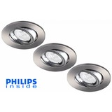 Philips Set van 3 stuks LED inbouwspot 4,9W (50W), dimbaar en kantelbaar