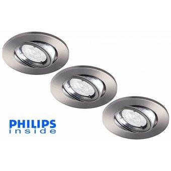 Philips Set van 3 stuks LED inbouwspot 4,3W (50W), dimbaar en kantelbaar
