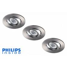 Philips Set van 3 stuks LED inbouwspot 4W (35W), dimbaar en kantelbaar