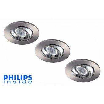 Philips Set van 3 stuks LED inbouwspot 4,4W (35W), dimbaar en kantelbaar