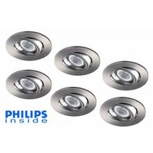 Philips Set van 6 stuks LED inbouwspot 4,4W (35W), dimbaar en kantelbaar