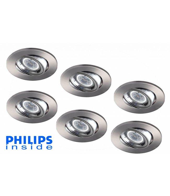 Philips Set van 6 stuks LED inbouwspot 4W (35W), dimbaar en kantelbaar