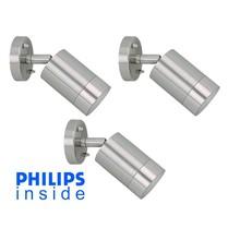 Philips 3 stuks Tuin Wand LEDlamp, Geborsteld RVS, Philips 4 Watt, dimbaar