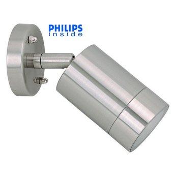 Philips Tuin Wand LED Lamp, Armatuur + led spot , Geborsteld RVS, dimbaar