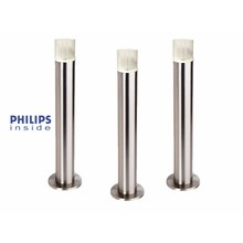 Philips 3 stuks Tuin Staande LED lamp geborsteld RVS, dimbaar