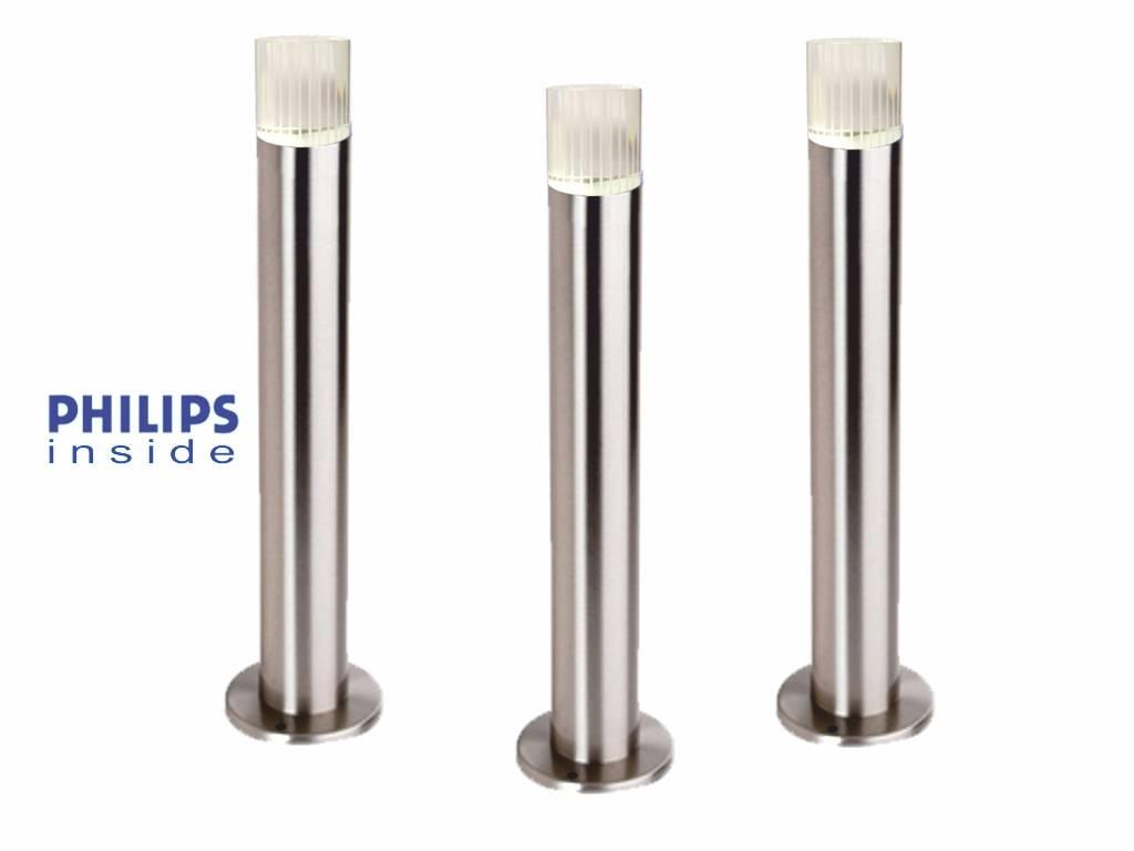 Philips 3 stuks Tuin Staande LED lamp geborsteld RVS, dimbaar ...