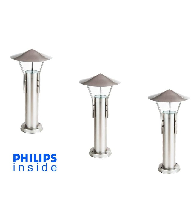 Philips 3 stuks Staande Tuin LEDlamp geborsteld RVS, dimbaar