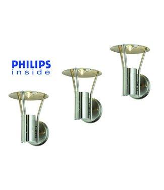 Philips 3 stuks Tuin Wand LED Lamp, Geborsteld RVS