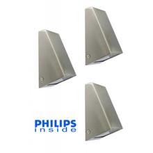Philips Set van 3 stuks Tuin Wand LED Lamp, 3,5 Watt, RVS
