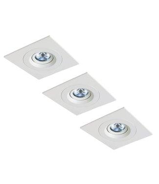 Set van 3 stuks LED inbouwspot Amsterdam 8W, dimbaar (vierkant)