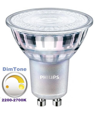 Philips DIMTONE LEDspot 4,9W GU10 2200-2700K, Dimbaar, Warm Wit (50W vervanging)