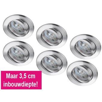 Set van 6 stuks LED inbouwspot 6 Watt, dimbaar, met lage inbouwdiepte, warmwit licht