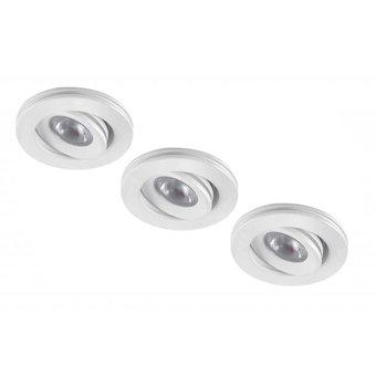 Set van 3 stuks dimbare mini inbouwLEDspot, warm wit, 1x3W Kantelbaar IP44 WITTE uitvoering
