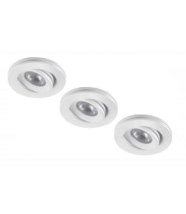 Set van 3 stuks dimbare mini inbouwLEDspot, warm wit, 1x3W Kantelbaar IP44 WIT
