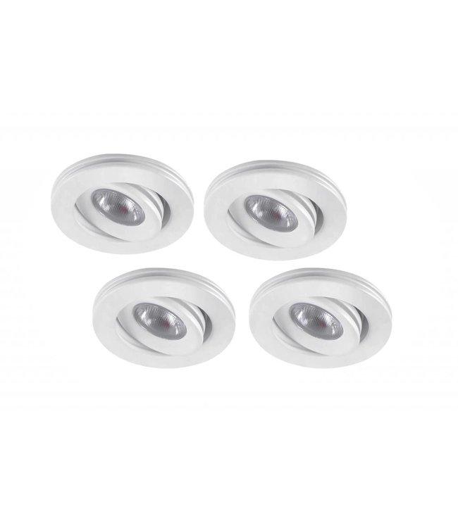 Set van 4 stuks dimbare mini inbouwLEDspot, warm wit, 1x3W Kantelbaar IP44 WIT