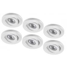 Set van 6 stuks dimbare mini inbouwLEDspot, warm wit, 1x3W Kantelbaar IP44 WIT