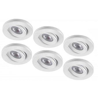 Set van 6 stuks dimbare mini inbouwLEDspot, warm wit, 1x3W Kantelbaar IP44 WITTE uitvoering