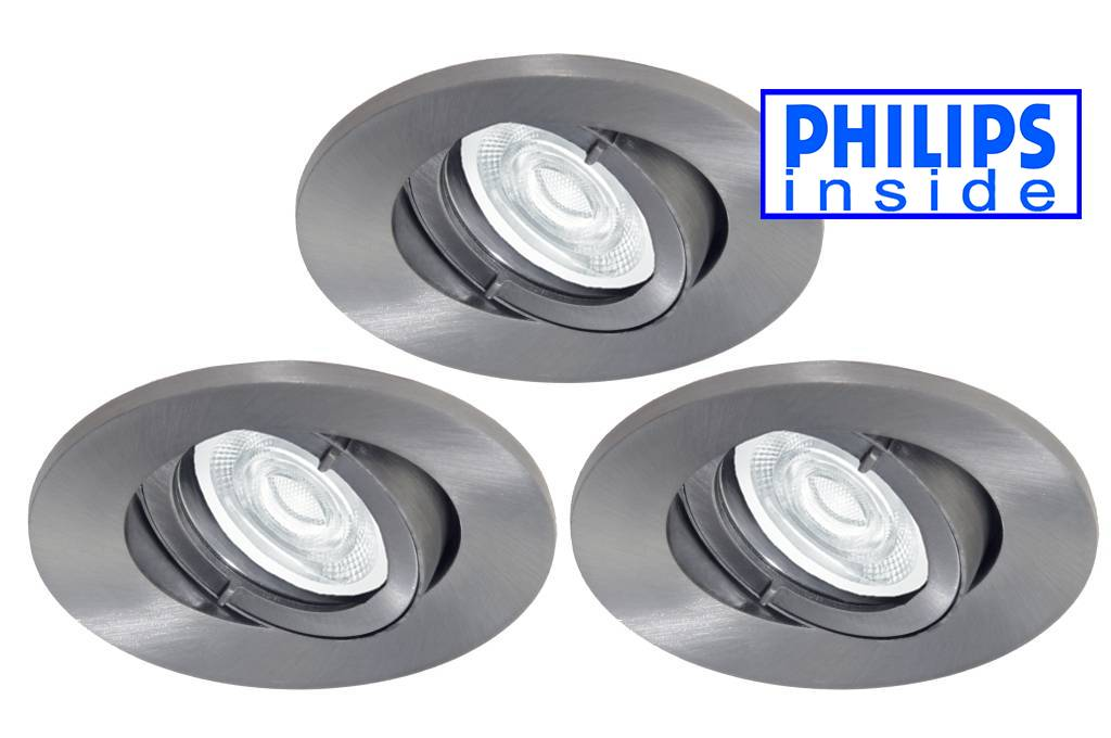 Philips 3 stuks Badkamer (IP44) inbouw LEDspot 12 V 3,4W armatuur + ...