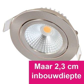 Inbouw Ledspot Star RVS, 5 Watt, Dimbaar, kantelbaar, Warm Wit, Geschikt voor de badkamer. IP54