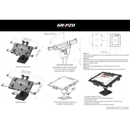 "Gripzo Grip Secure stand 7-11"" tablets"