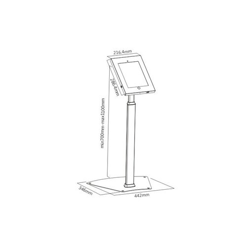 Tabletsolution hoogte verstelbare iPad vloerstandaard