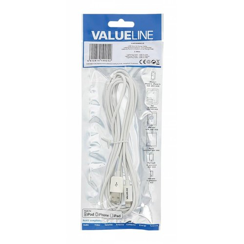 USB sync & charge-kabel lightning 2 meter Wit