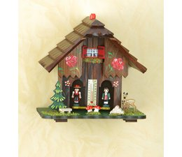 Trenkle Uhren Weather house in the Black Forest made out of wood, the figures show the weather and so how a weather house: Inside the cottage weather a gut string, which changes in the air humidity changes reagiert.Dabei is he