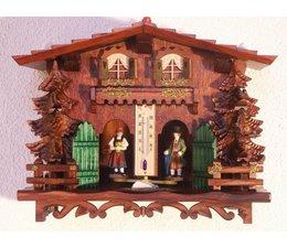 Trenkle Uhren Exclusives Wetterhaus im Schwarzwald gefertigt aus Holz mit Holzfiguren Die Figuren zeigen das Wetter an und so funktioniert ein Wetterhaus:Im Inneren des Wetterhäuschens befindet sich ein Strang aus Darmsaite,welche bei Luftfeuchtigkeitsveränderungen  re