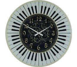 Hettich Uhren Sehr exclusive verarbeitete Wohn Design Uhr Klavier Design 60cm Glas mit Quarzwerk Nr.4404