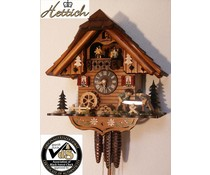 Hettich Uhren Original Black Forest cuckoo clock with 1 days music rack strike movement and movable double Sawyers dancers and water wheel 34cm high and 31cm wide
