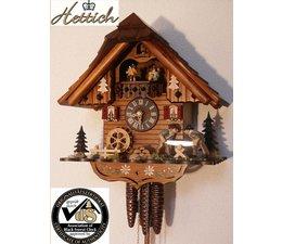 Hettich Uhren Orginal Schwarzwälder Kuckuckuhr mit 1 Tage Musik Rechenschlagwerk und beweglichen Doppelsäger-Tanzfiguren und Mühlrad 34cm hoch und 31cm breit