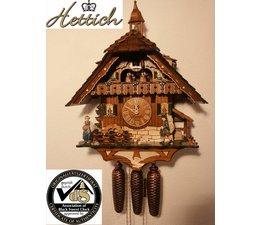 Hettich Uhren Orginal im Schwarzwald handgefertigte Kuckucksuhr Schwarzwaldhausstil 47cm hoch mit beweglichem Uhrenträger -Tanzfiguren und Mühlrad