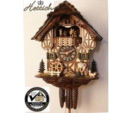 Hettich Uhren Originele Zwarte Woud koekoeksklok met 1 dagen muziek beweging met houtspanen dak en bewegende hout chopper en molenrad-dance cijfers 34cm hoog en 27cm breed
