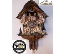 Hettich Uhren Orginal Schwarzwälder Kuckuckuhr mit 1 Tage Musik Rechenschlagwerk mit Holzschindeldach und beweglichem Biertrinker Tanzfiguren und Mühlrad 34cm hoch und 27cm breit