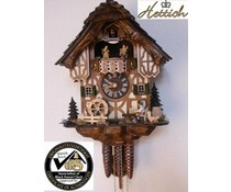Hettich Uhren Original Black Forest cuckoo clock with 1 days music movement with wood shingle roof and moving beer drinkers and mill wheel dance figures 34cm high and 27cm wide