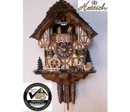 Hettich Uhren Orginal Schwarzwälder Kuckuckuhr mit 1 Tage Musik Rechenschlagwerk mit Holzschindeldach und beweglichem Biertrinker-Tanzfiguren und Mühlrad 34cm hoch und 27cm breit