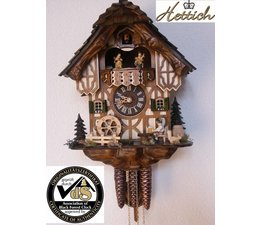 Hettich Uhren Original Black Forest cuckoo clock with 1 days music movement with wood shingle roof and moving beer drinkers and mill wheel-dance figures 34cm high and 27cm wide