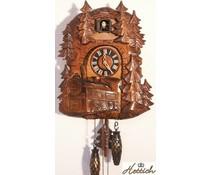 Hettich Uhren Kuckucksuhr 32cm mit Schwarzwaldbahn-Motiv und Quarzwerk mit automatischer Nachtabschaltung mit 12 verschiedene Melodien