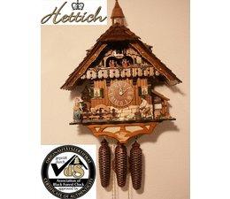Hettich Uhren Orginal im Schwarzwald  handgefertigte Kuckucksuhr Massivgehäuse im  Schwarzwaldhausstil 47cm hoch  mit beweglichem Holzhacker -Tanzfiguren und Mühlrad