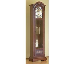 Hettich Uhren 81-50 walnut grandfather clock painted Hermle Westminster work with marquetry inlays Dimensions 192x52x30cm