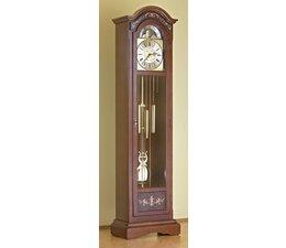 Hettich Uhren Standuhr 81-50 nußbaum lackiert Hermle Westminster Werk mit Intarsien Einlegearbeiten Maße 192x52x30cm