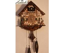 Hettich Uhren Kuckucksuhr 23cm  mit Quarzwerk  und automatischer Nachtabschaltung mit 12 verschiedene Melodien mit handgfertigten Holzfiguren