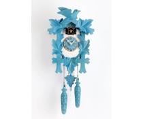 Trenkle Uhren Kuckucksuhr 35cm blau weiss lackiert mit Quarzwerk und Lichtsensor